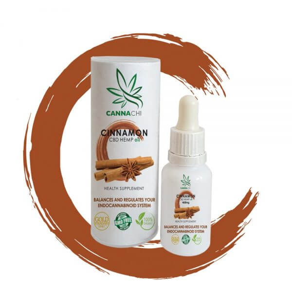 CBD oil cinnamon bottle and outer pack